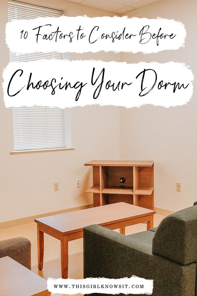 Ten Factors to Consider Before Choosing Your Dorm | Soon, many students will begin applying for housing for the next academic year. While this is very exciting for many students, there are many factors a student should take into consideration when choosing their dorm, just as there were many factors to consider when picking a college. This post (Ten Factors to Consider Before Choosing Your Dorm) gives a list of ten factors that every student living on-campus should take into consideration when choosing a dorm. | #college #university #dorm #dormroom #freshmanyear | www.thisgirlknowsit.com | This Girl Knows It