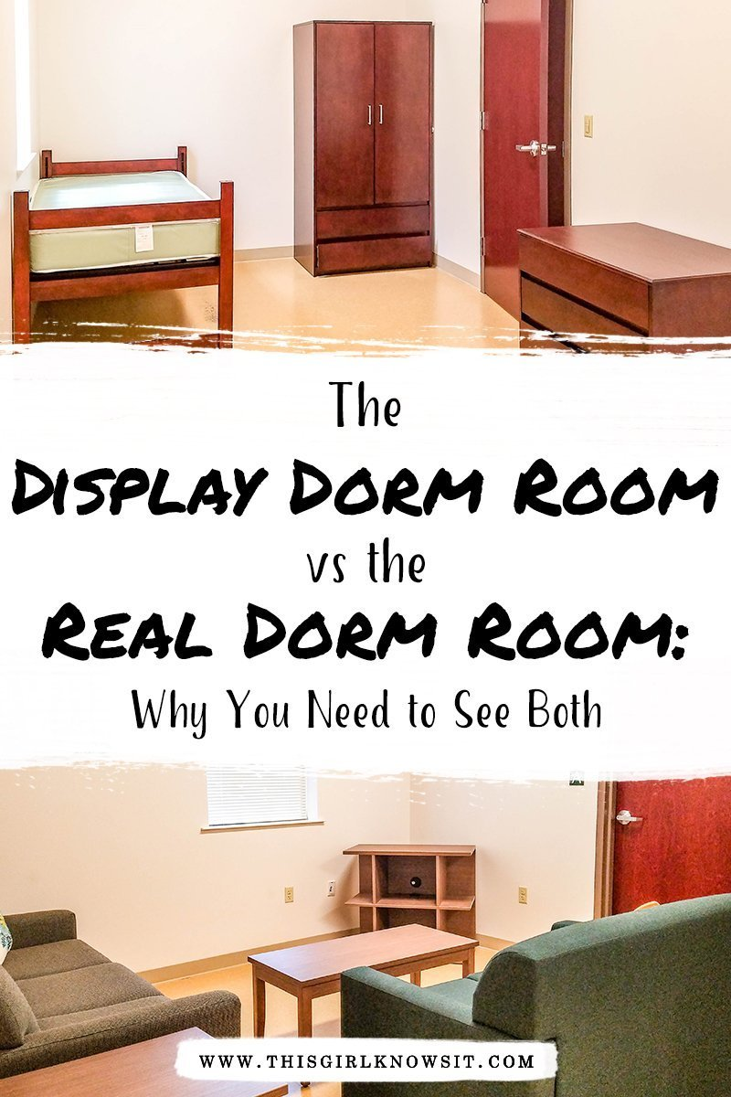 Visiting the college dorms is an exciting part of the campus tour, but they can also be misleading. Check out this post why you should see both the display dorm room and the real dorm room while on your campus tour. #dorms #dormlife #campus #college