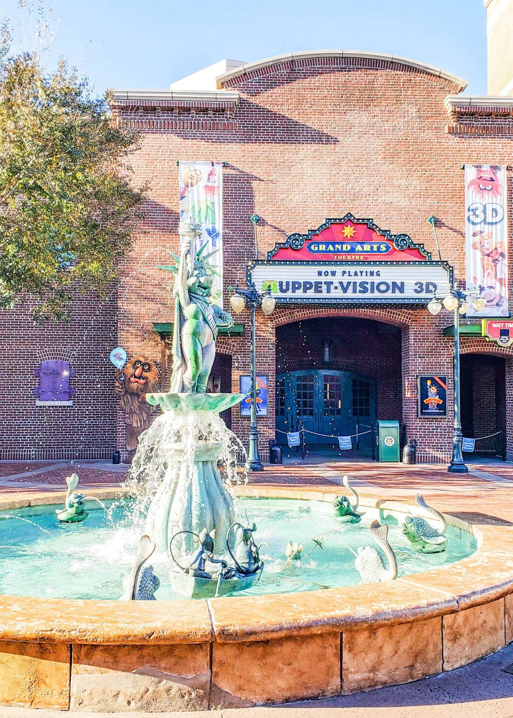 A large fountain in front of Muppet Vision 3D