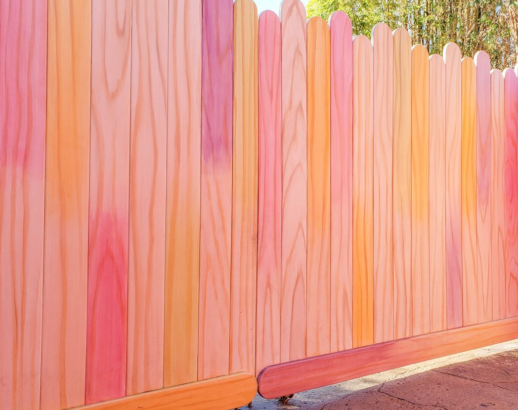 Wall made out of colorful popsicle sticks at Disney's Hollywood Studios.