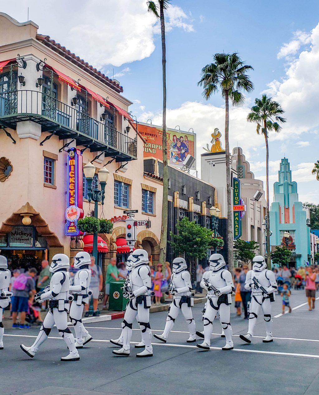 Storm Troopers march down Hollywood Boulevard in Disney's Hollywood Studios