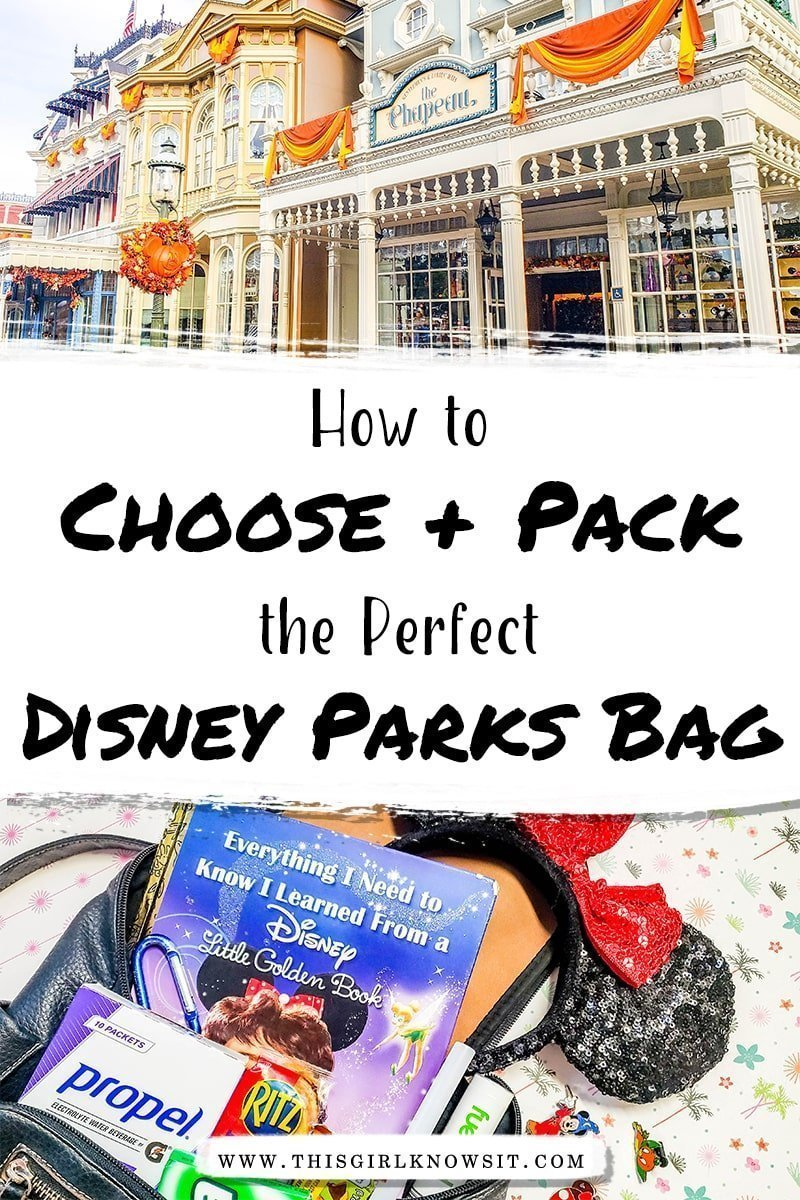 Heading to the Disney parks? Don't forget these necessities! Whether you're heading to Disneyland or Walt Disney World, these are the items you must pack in your park bag, along with tips on how to choose the perfect Disney parks bag! #disney #disneyparks #bag #packing #themepark
