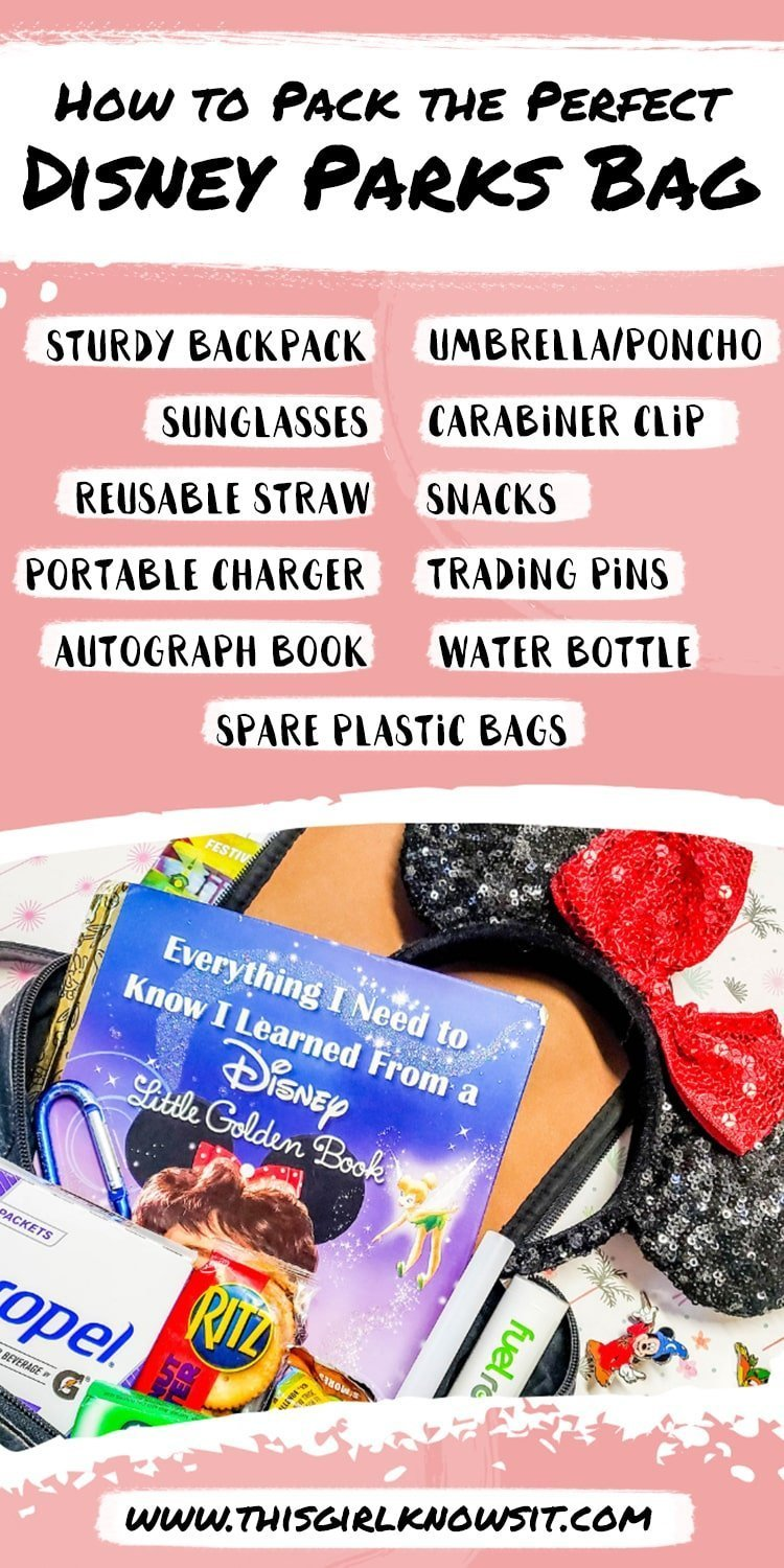 Heading to the Disney Parks? Don't forget to pack these items in your bag for a successful trip! #disney #disneyparks #disneyworld #disneyland #packing