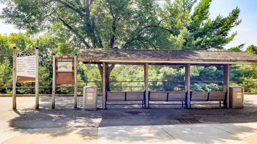 This is the front entrance tram stop at the Louisville Zoo